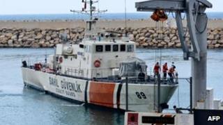 Turkish coast guard boat leaves Samandagi harbour in Hatay - 24 June
