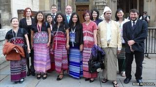 Rob Roussel (right), Burmese exiles and Burma Campaign staff