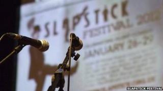Microphones on stage at Slapstick Festival