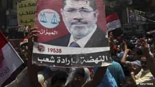 """Supporters of Muslim Brotherhood""""s President-elect Mohamed Mursi hold a poster with his image"""