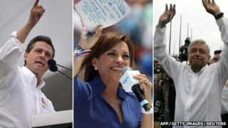 Enrique Pena Nieto (left) Josefina Vazquez Mota (centre), Andres Manuel Lopez Obrador (right)