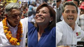 Andres Manuel Lopez Obrador (left) Josefina Vazquez Mota (centre) Enrique Pena Nieto (right)