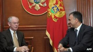 Montenegrin President Filip Vujanovic (right) with European Council President Herman Van Rompuy, 19 Oct 10