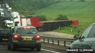 Overturned lorry on the A34