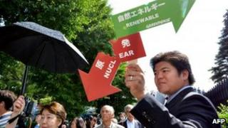 A protester outside the shareholders' meeting on 27 June