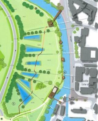 Suggested position for the bridge linking the city centre with the Castlemeads area