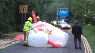 A large advertising balloon became entangled in power cables