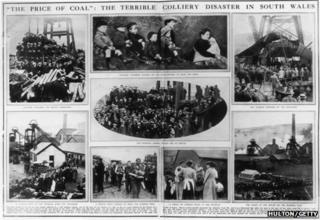A double-page newspaper spread, reporting on Britain's worst-ever mining disaster in Senghenydd