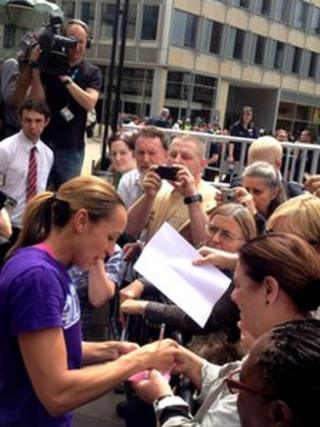 Sheffield heptathlete Jessica Ennis signed autographs in the Peace Gardens