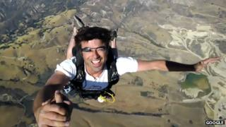 Google employee wears Project Glass while skydiving