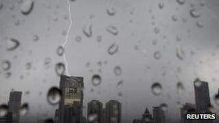 Lightning strikes over buildings in central Bangkok (March 2012)