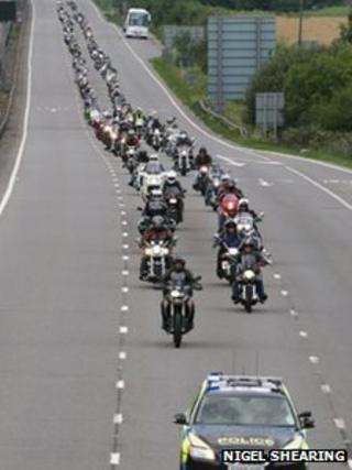 Motorbikes on A 14 in Cambridgeshire