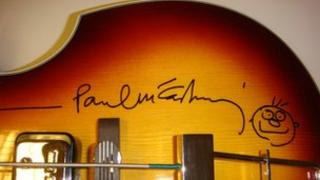 Guitar signed by Paul McCartney