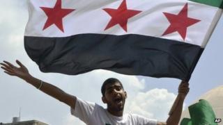 An anti-Syrian protester in Tripoli, Lebanon. Photo: June 2012
