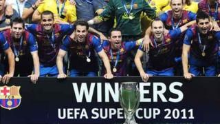 Barcelona yn dathlu ennill Super Cup UEFA yn 2011