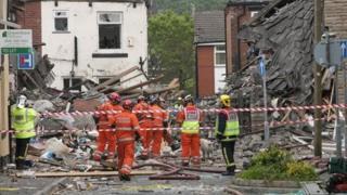 Rescue team at the blast site.
