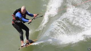 Sir Richard Branson completing world record