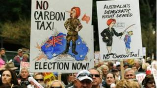 Protesters at a anti-carbon tax rally in Sydney on 1 July, 2012