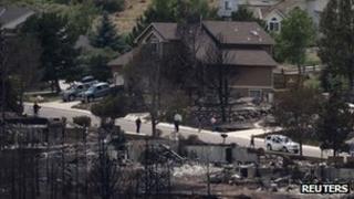 The neighbourhood of Mountain Shadows after the Waldo Canyon fire, Colorado 1 July 2012