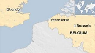 Map showing Steenkerke in Belgium