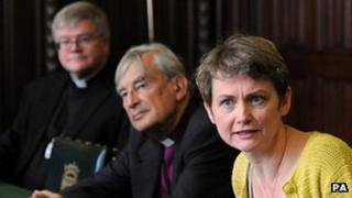 Shadow home secretary Yvette Cooper, former Bishop of Oxford Lord Harries and Dean of St Albans Dr Jeffrey John
