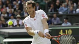 Andy Murray plays at Wimbledon