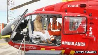 Duchess of Cornwall with lead paramedic Steve Garvey. Pic: Getty Images