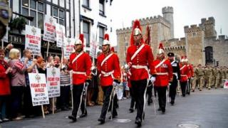 Welsh Cavalry marching through Cardiff as part of the Queen's Diamond Jubilee celebrations