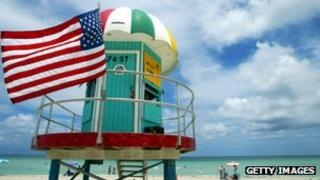 File pic of lifeguard stand in North Miami