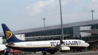Ryanair plane at Malaga airport
