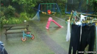 Flooded garden in Tullybrannigan Road Newcastle