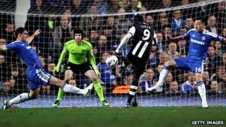 Cisse scores for Newcastle against Chelsea in May 2012