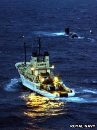 Anglian Prince and stricken submarine HMCS Chicoutimi