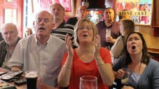 Andy Murray fans watch his match in the Dunblane Hotel