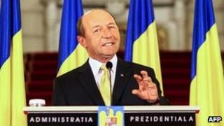 Romanian President Traian Basescu speaking on 3 July