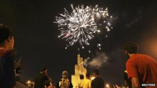 Fireworks being lit in Libya's second city, Benghazi, after polling stations close in general elections on 7 July 2012