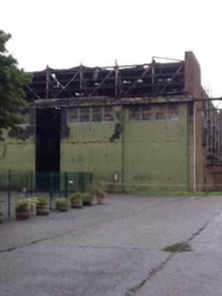 Fire damaged hangar