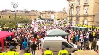 EDL rally in Dewsbury