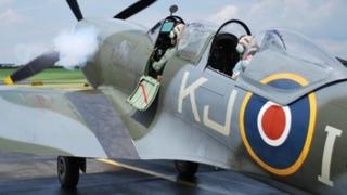 The rare two-seater spitfire gave an intimate display at Gloucestershire Airport