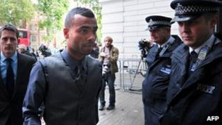 Ashley Cole arrives at court on Wednesday