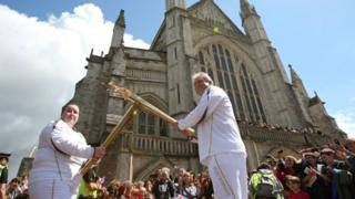 Torchbearers at Winchester Cathedral