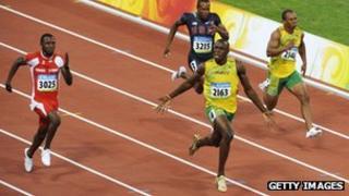 Usain Bolt winning 100m final in Beijing 2008