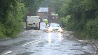 Flood on Markeaton Lane in Derby