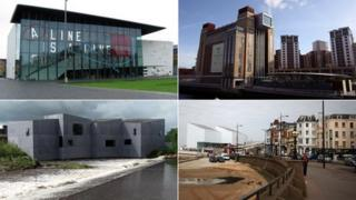 Clockwise from top left: Mima, the Baltic, the Turner Contemporary and the Hepworth