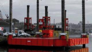 Floating barge which will be used by Yorkshire Water