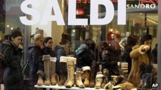 Sale in Italian shop