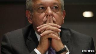 Andres Manuel Lopez Obrador at a news conference in Mexico City. Photo: 12 July 2012