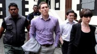 John McAreavey leaving the court in Mauritius during the trial