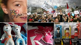 From top left, clockwise: girl with Olympic rings painted on face, crowds waving flags, Olympics mascots, cushion with logo, mascots