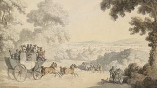 The Portsmouth Fly by Thomas Rowlandson shows a stage coach entering Portsmouth